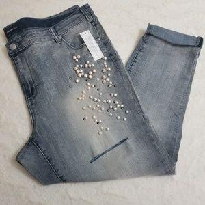 NWT [Denim 24/7] Pearled Embellished Skinny Jeans